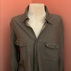 L L Bean beige button down long sleeved shirt